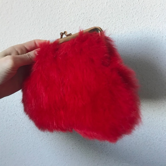 Vintage Handbags - Vintage INGBER Real Rabbit Fur Red Clutch So Soft!